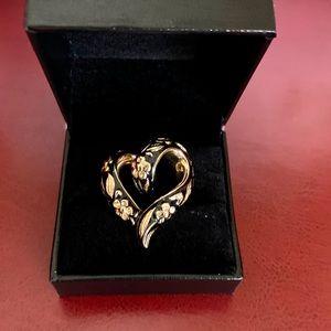 14K Yellow Gold & Black Enamel Heart Pendant